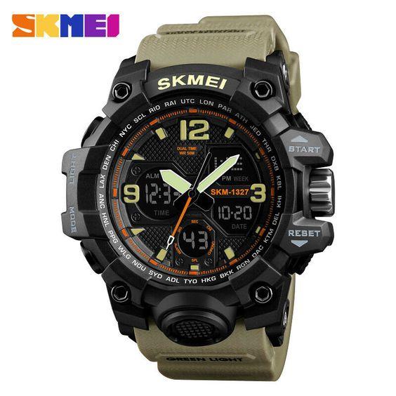 SKMEI Stylish Shockproof Sports Watch Dual Time Chrono Analog Digital Wristwatch - Ideas of Clip Watch #ClipWatch
