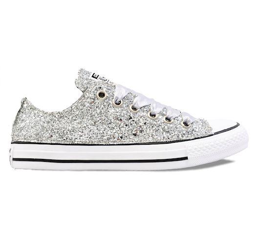 Women's Sparkly Silver Glitter Converse All Stars Chucks Sneakers ...