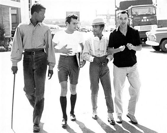 Sidney Poiter, Tony Curtis, Sammy Davis, Jr., and Jack Lemmon on the lot of Goldwyn Studios, 1959. Phil Stern