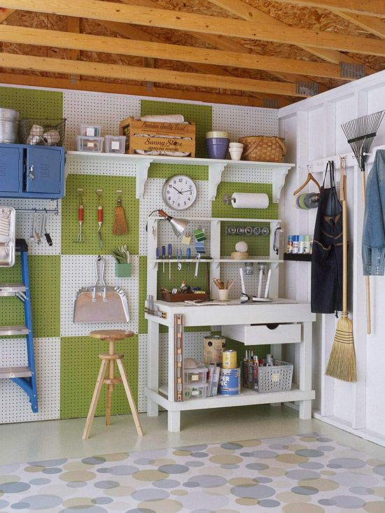 Garage - The pegboard is attached directly to the wall studs. Say bye bye to an unfinished look and hello to delightful ORDER! :)