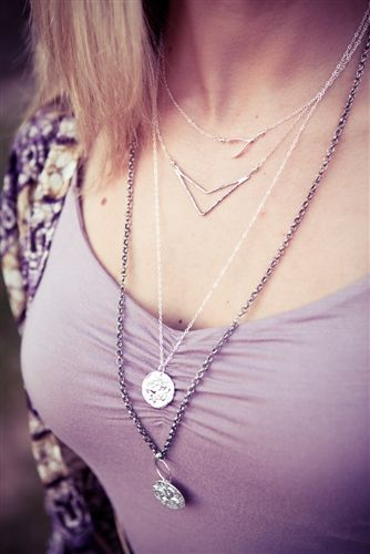 Brooklyn Designs layered necklaces. #layers #chevron #BrooklynDesigns #jewelry #necklace