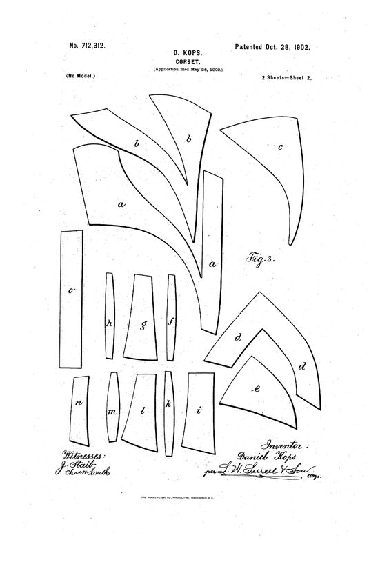 S-bend corset patent -Original- Pre 1929 Historical Pattern Collection