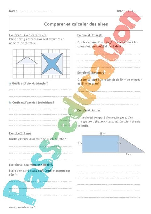 Comparer Et Calculer Des Aires 6eme Exercices Avec Correction Pass Education Exercice Pass Education Triangle
