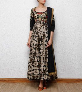 Black Kora Cotton Churidar Suit with Hand Embroidery