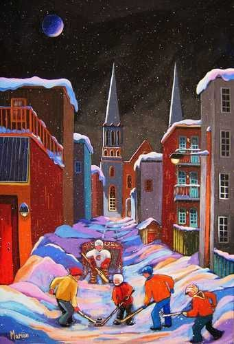 Street hockey / La soirée du hockey - Louise Marion, artiste peintre, paysage urbain, Quebec, couleurs