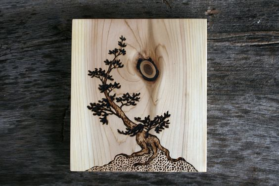 Ancient Tree II Art Block Woodburning by TwigsandBlossoms
