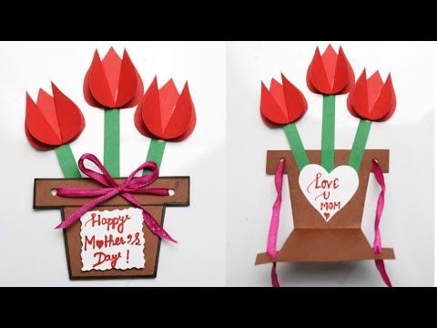 Handmade Mother S Day Card Easy Flower Pot Mothers Day Card For Kids Paper Craft For Mothers Day Youtube Paper Crafts For Kids Paper Crafts Cards Handmade