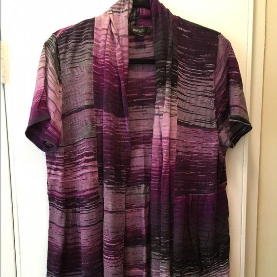 Purple short sleeved cardigan Short sleeved, flowy, lightweight, striped purple cardigan. Worn open, it is cut to flatter the bust. Style & Co Sweaters Cardigans
