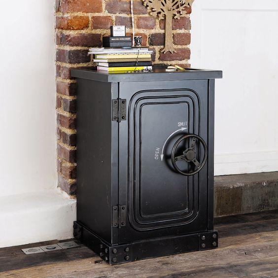 Cabinet de rangement coffre-fort en bois noir effet vieilli L 53 cm Bank…