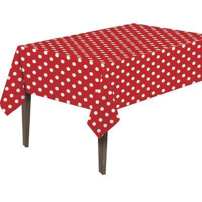 Berrnour Home Essential Vinyl Polka Design Indoor/Outdoor Tablecloth Size: