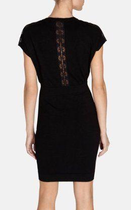 Lace insert knit dress