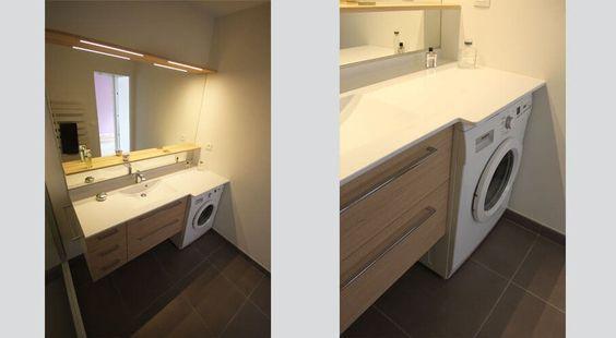 meuble salle de bain contemporain avec lave linge int gr. Black Bedroom Furniture Sets. Home Design Ideas