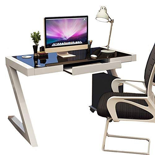 Amazon Com Cdto Modern Computer Desk Tempered Glass Office Table Z Shaped Workstation Steel Frame Study H In 2020 Modern Computer Desk Office Table Glass Desk Office