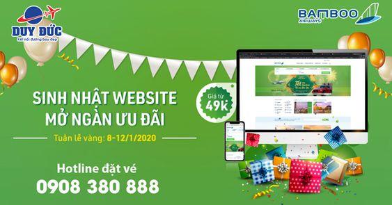 Sinh nhật Website Bamboo Airways ưu đãi giá vé chỉ 49K