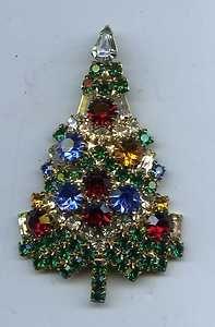 Vintage Signed Eisenberg Ice Christmas Tree Brooch: