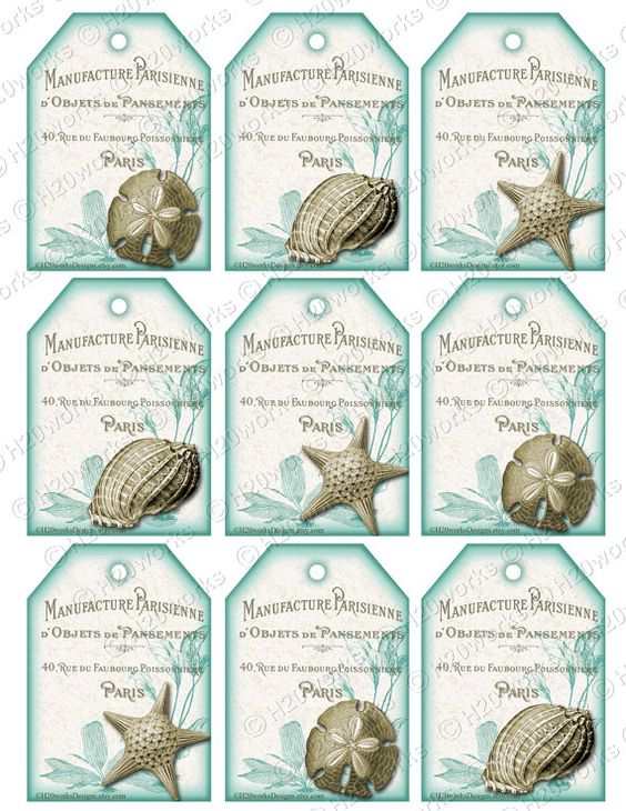 Aqua White Shabby Chic Shells Digital Tags on by H20worksDesigns, $4.50