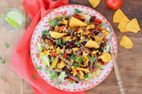 Taco salade met bruine bonen // Francesca Kookt