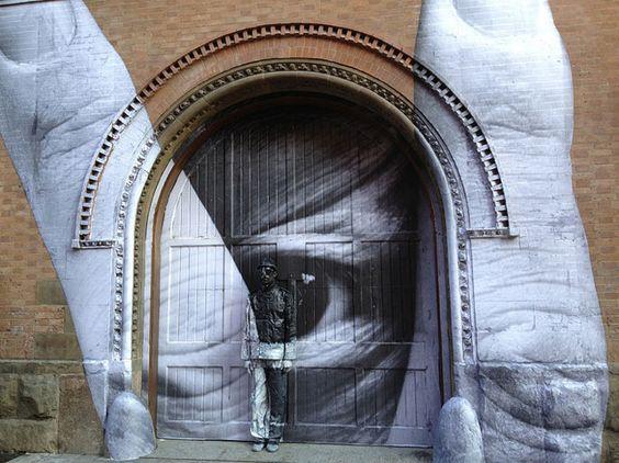 Liu Bolin + JR where's wally?  Video: http://ilovegraffiti.de/blog/2012/04/07/new-york-jr-liu-bolin/
