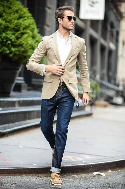 Cuffed jeans, khaki blazer, and a white button down for a ...