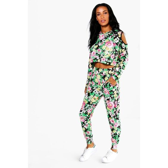 Boohoo Naomi Rio Floral Print Cold Shoulder Lounge Set ($35) ❤ liked on Polyvore featuring intimates, sleepwear, pajamas and black