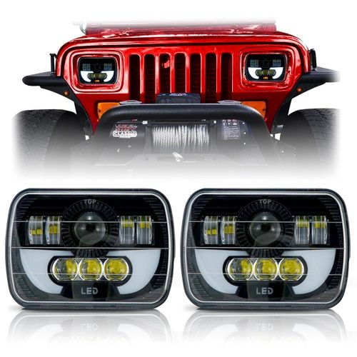 Demon Led Black Projector Headlights W Drl For Xj And Yj With