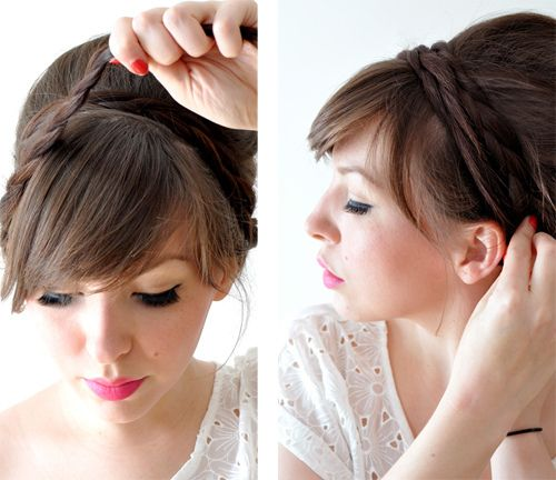 Super easy milk-maid-style up do!