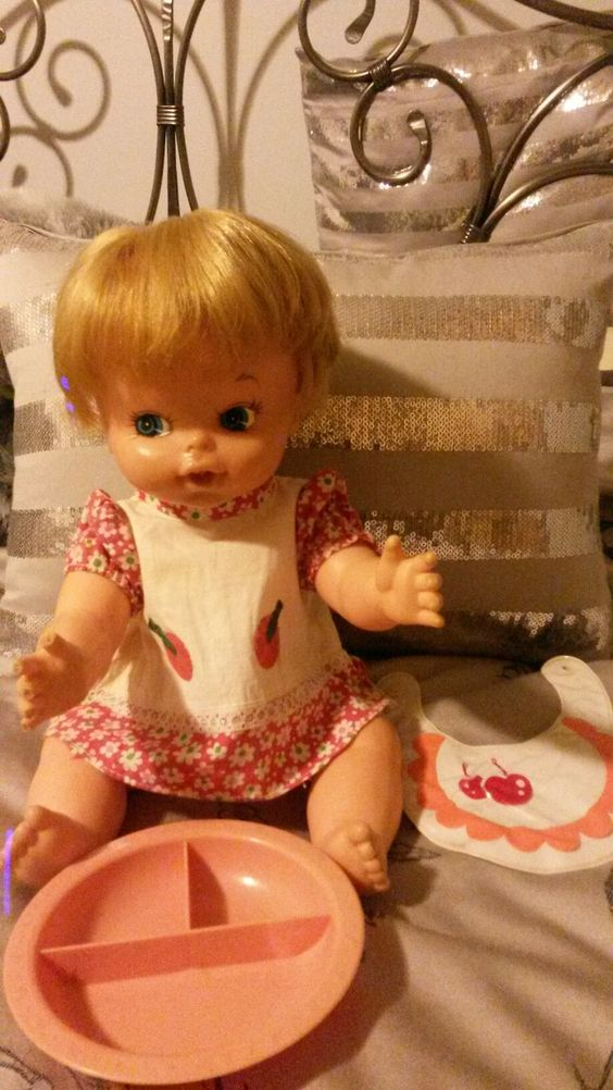 1970's Baby Alive. Original outfit and plate.
