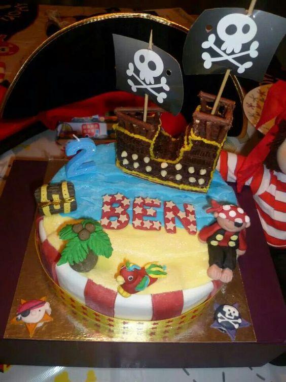 Pirate birthday cake,  pirate ship, parrot, 2nd birthday, boy