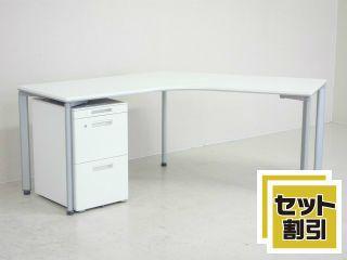 23108 デスク・L型・ラウンドデスク 商品説明へ:中古オフィス家具・楽市