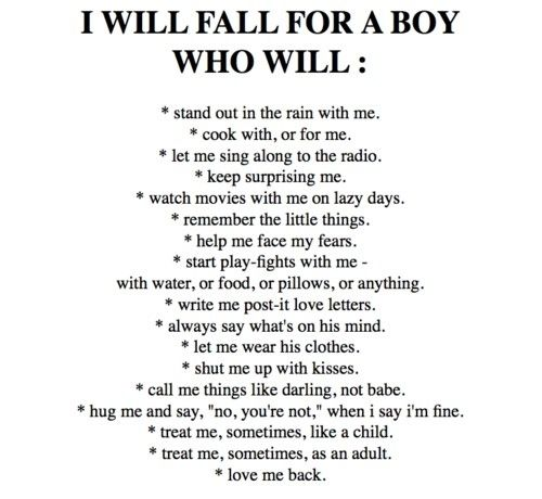 I will fall for a boy who will ...