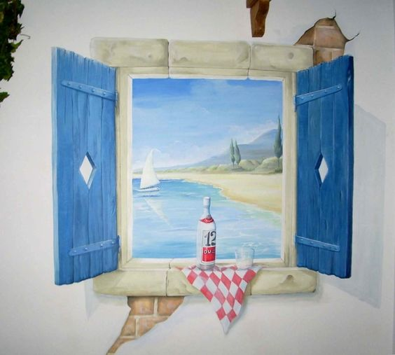 Window with shutters and exposed brick trompe l 39 oeil for Exposed brick wall mural