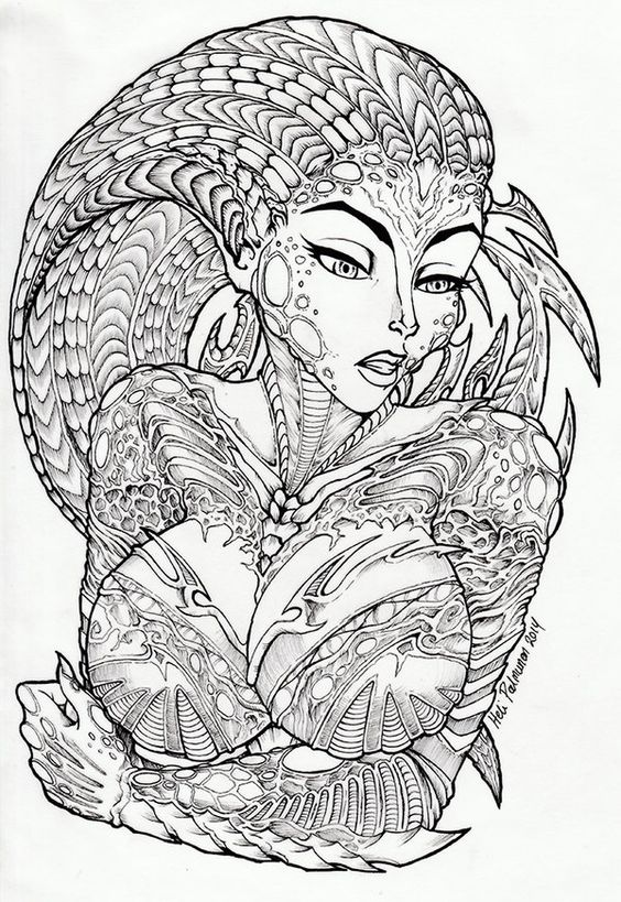 Alien Lady Lineart By Volvom On deviantART Fantasy
