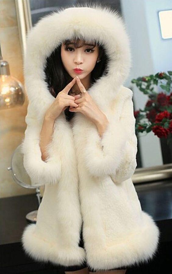 LUXURY Europe Women Faux Rabbit Fur Winter Warm Fur Coat Hooded Jacket Outerwear #New #BasicJacket