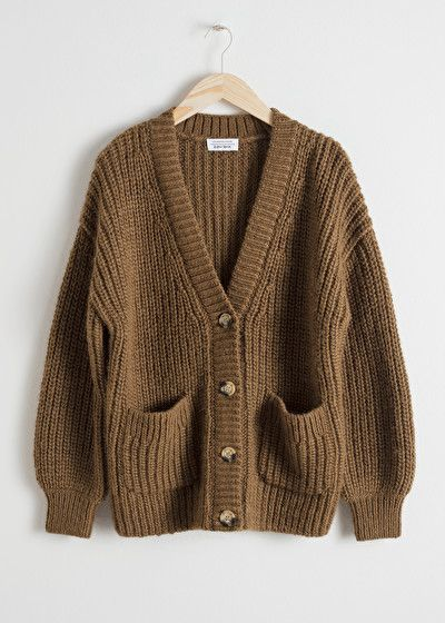 Oversized Rib Knit Cardigan - Khaki - Cardigans - & Other Stories