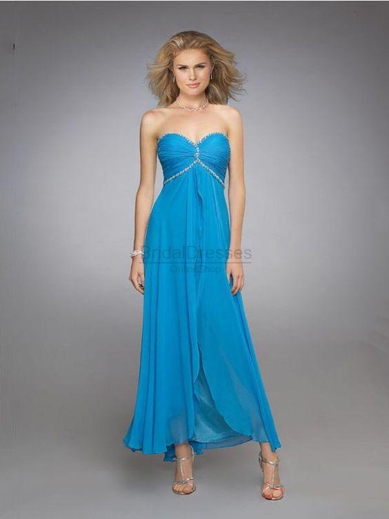 Blue Chiffon prom dress, simple but amazing!
