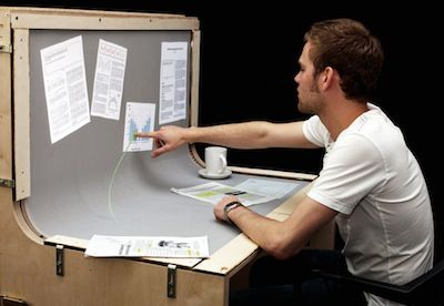BendDesk is a multi-touch desk environment that seamlessly combines a vertical and a horizontal surface