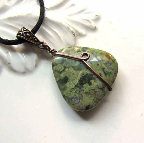Necklace, Rainforest Jasper, Green, Yellow. Forest Ponds.. $18.00, via Etsy.