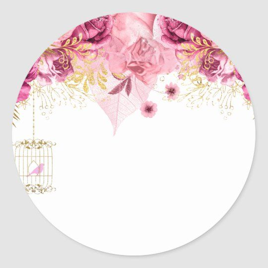 Modern Glam Chic Flowers For All Occasions Classic Round Sticker Zazzle Com Chic Flowers Floral Border Design Birthday Cake Topper Printable