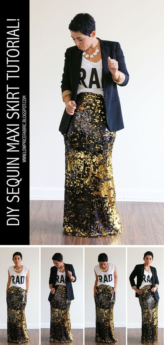 free diy sequin maxi skirt tutorial mimigstyle style