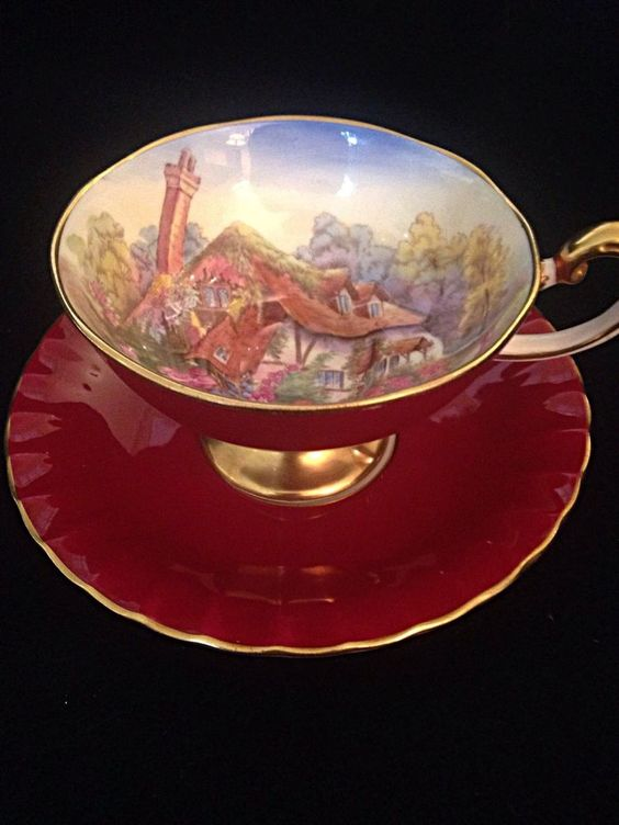 Aynsley Ruby Red Pedestal Cottage At Fancomb Signed Brunt Tea Cup And Saucer: