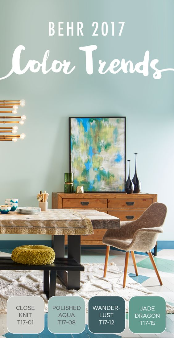 Capturing the eclectic, modern aesthetic you love is easier than ever, thanks to this paint combination. Refresh your home's dining room with BEHR's new 2017 Color Trends and try a geometric pattern on the floor for a unique look. Featured colors | Close Knit, Polished Aqua, Wanderlust, and Jade Dragon.: