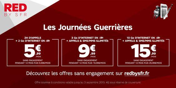 """SFR relance ses """"Journées Guerrières"""" sur ses forfaits RED - http://www.frandroid.com/bons-plans/304880_sfr-relance-journees-guerrieres-forfaits-red  #Bonsplans, #Telecom"""