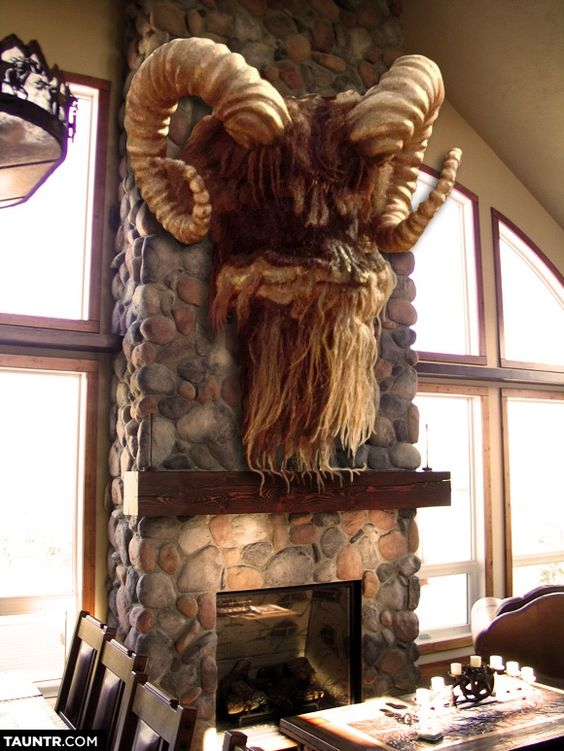 Taxidermied Heads of Star Wars Creatures Mounted on Fireplaces: