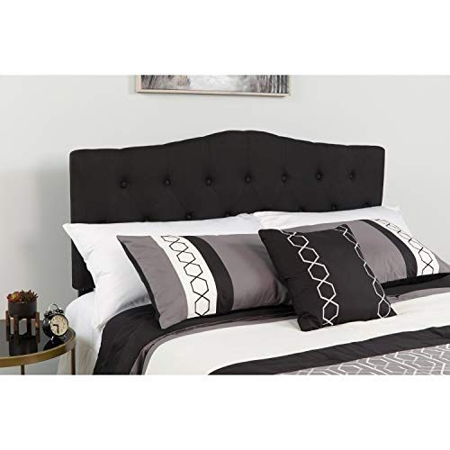 Arched Button Tufted Upholstered Twin Size Headboard In Black
