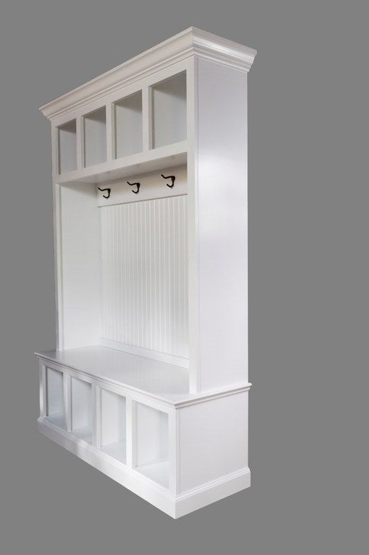 """Beadboard Hall Tree with 4 upper and lower cubbies by TopShelfWoodworx on Etsy.com.   This one is 53"""" wide, but can be custom ordered in a different size or number of cubbies, an enclosed lift-top bench, different color, etc.   Love it!"""