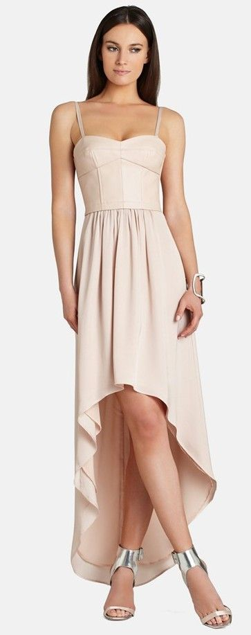 BCBGMAXAZRIA nude faux leather high/low dress found at Nudevotion.com