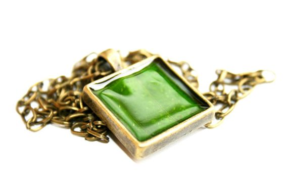 Botanical Jewellery  Authentic Green Lilly Leaf Pendant by Mo - Mo, $32.00