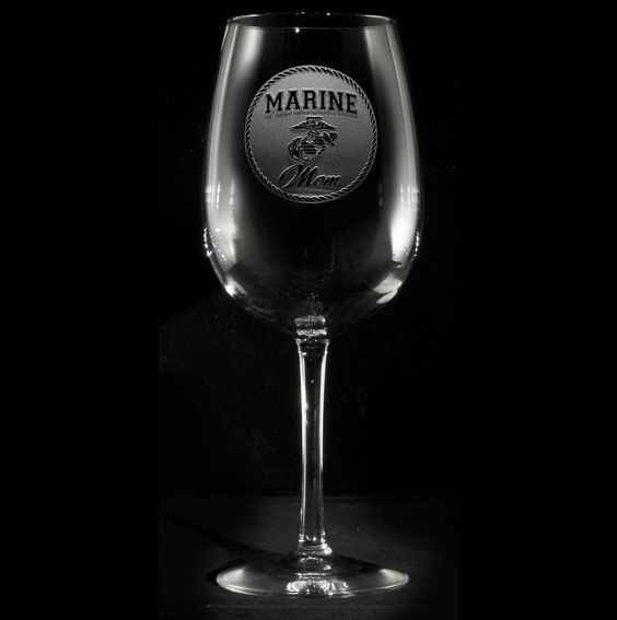 Marine Mom Wine Glass | Soldiers, Mom and Crystals