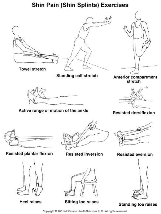 shin stretches | ... 2003.1: Shin Pain (Shin Splints) Exercises, Part I: Illustration