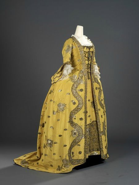 Overdress of a woman's 3 piece dress (robe à la française)EnglishSilk extended tabby (gros de Tours) with liseré self-patterning and brocading in silver lamella and filécirca 1750sRococoArea of Origin
